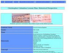 Christopher Columbus:  Historical Perspective Lesson Plan