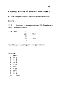 Chunking: Division Worksheet