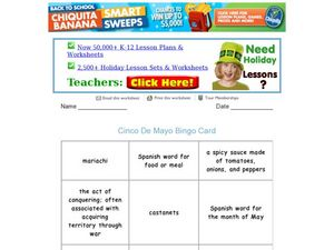 Cinco De Mayo Bingo Worksheet