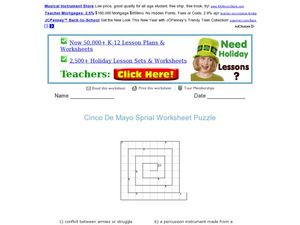 Cinco De Mayo Spiral Word Puzzle Worksheet