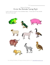 Circle the Animals Facing Right Worksheet