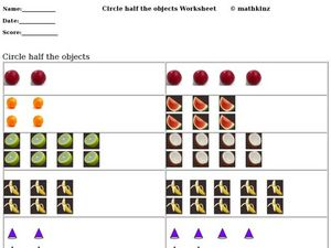 Circle the Half Objects Worksheet