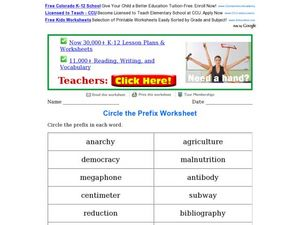 Circle the Prefix Worksheet Worksheet