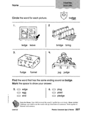 "Circle the Word For Each Picture: ""dge"" Words Worksheet"