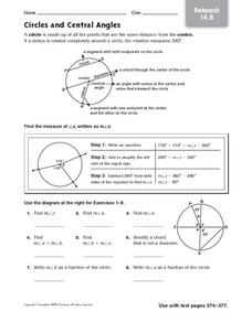 Circles and Central Angles reteach 14.8 Worksheet