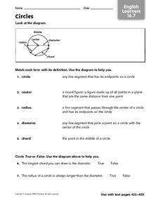 Circles - EL 16.7 Worksheet