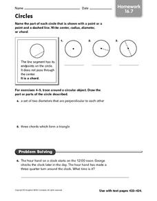 Circles - Homework 16.7 Worksheet