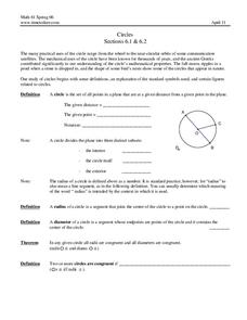 Circles Worksheet