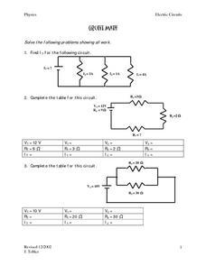 circuits worksheet - Termolak