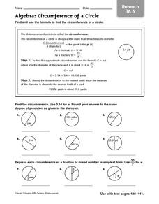 Circumference of a Circle: reteach Worksheet