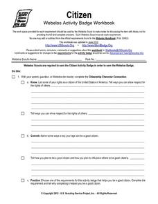 Citizen Webelos Activity Worksheet