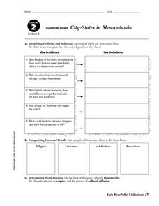 City-States in Mesopotamia Worksheet