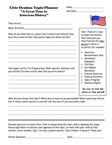 "Civic Oration Topic Planner ""A Great Time in American History"" Lesson Plan"