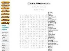 Civic's Wordsearch Worksheet