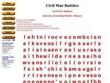 Civil War Battles Word Search Worksheet