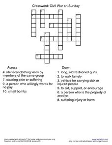 Civil War on Sunday Crossword Worksheet