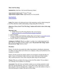 Civil War Slang Lesson Plan
