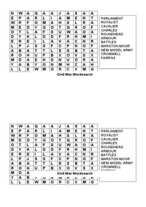 Civil War Word Search Worksheet