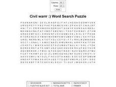 Civil Warrr:) Word Search Puzzle Worksheet