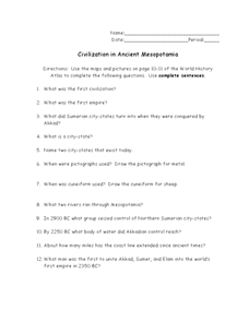 Civilization in Ancient Mesopotamia 6th - 8th Grade Worksheet ...