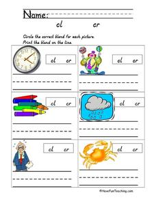 Cl and Cr Consonant Blends Worksheet