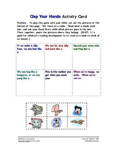 Clap Your Hands Activity Card Worksheet