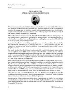 Clara Barton Biography Reading Comprehension Worksheet