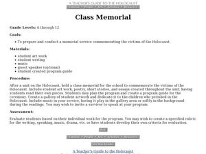 Class Memorial Lesson Plan