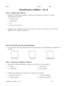 Classification of Matter 9th - 12th Grade Worksheet | Lesson Planet