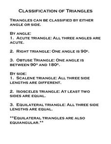 Classification of Triangles Worksheet
