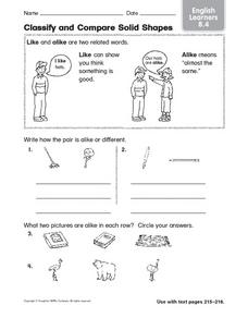 Classify and Compare Solid Shapes ESL Worksheet
