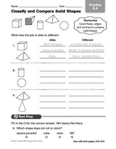 Classify and Compare Solid Shapes Practice 8.4 Worksheet