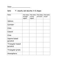 Classify and Describe 3-D Shapes Worksheet