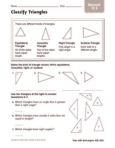 Classify Triangles: Reteach Worksheet