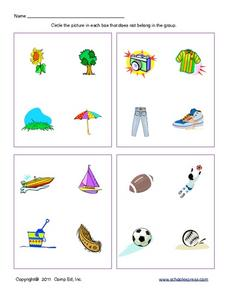 Classifying and Sorting Pictures Worksheet