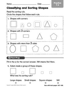Classifying and Sorting Shapes 3 Worksheet