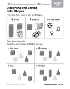 Classifying and Sorting Solids Shapes 3 Worksheet
