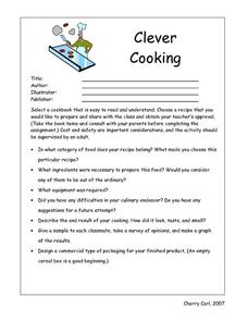 Clever Cooking Book Review Directions Worksheet