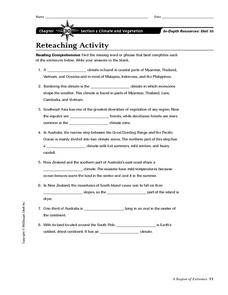Climate and Vegetation in Southeast Asia and Oceania Worksheet