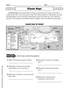 climate maps 4th 5th grade worksheet lesson planet. Black Bedroom Furniture Sets. Home Design Ideas