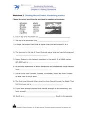 Climbing Mount Everest: Vocabulary Practice Worksheet