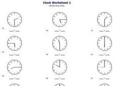 Clock Worksheet 2 Worksheet