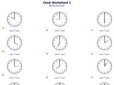 Clock Worksheet !- Writing the Time Worksheet