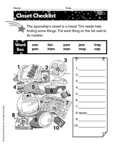 Closet Checklist Worksheet