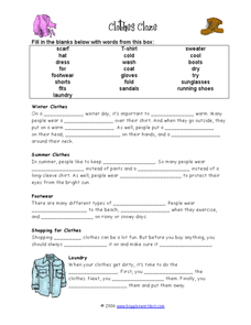 Clothes Cloze Worksheet