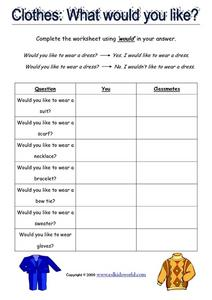 Clothes: What Would You Like? Worksheet