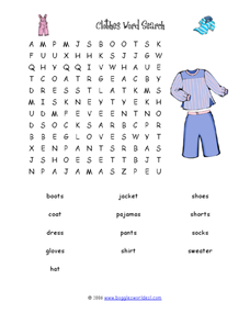 Clothes Word Search Worksheet