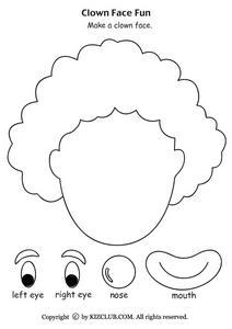 clown face fun pre k   kindergarten worksheet lesson pla