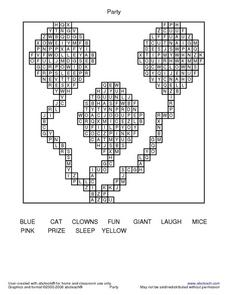 Clown Word Search Worksheet