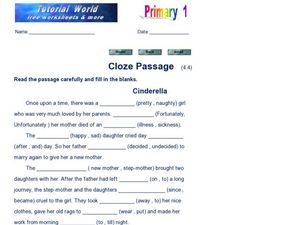 Cloze Passage: Cinderella Worksheet